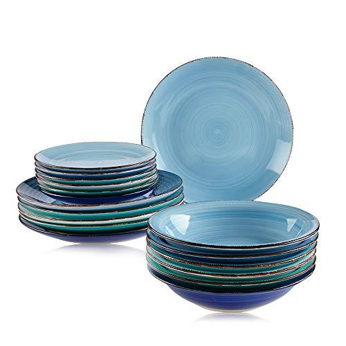Astor24 PREMIUM Geschirr Set – 18 teilig – Hohe Qualität – Porzellan – Handbemalt – Speiseteller – Suppenteller – Kuchenteller - Blau