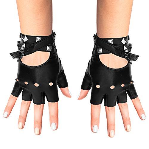 Skeleteen Fingerless Faux Leather Gloves - Black Biker Punk Gloves with Belt Up Closure and Rivet Design for Women and Kids