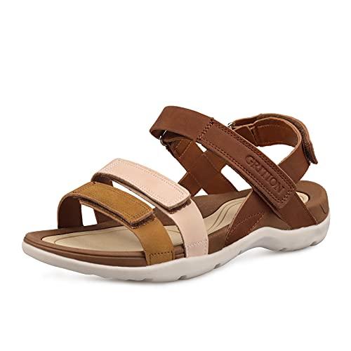 Grition Sandalia de senderismo para mujer, punta abierta y cómoda, sandalia de verano para caminar para la playa al aire libre