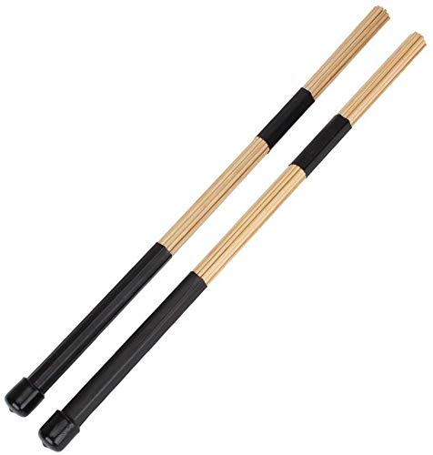 YiPaiSi 2PCS H-RODS Hot Rods Drumsticks, Hot Rods Rute Jazz Drum Sticks Drumsticks, Wooden Rods Rute Jazz Drum Drumsticks, Perfect for Small Venue and Acoustic (Black)
