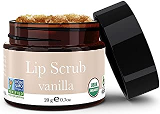 Organic Lip Scrub - Vanilla Sugar Scrub, Lip Scrubs Exfoliator & Moisturizer, Lip Exfoliator, Lip Care Exfoliating Scrub and Lip Moisturizer for Chapped Lips Treatment, Lip Repair for Lush Soft Lips