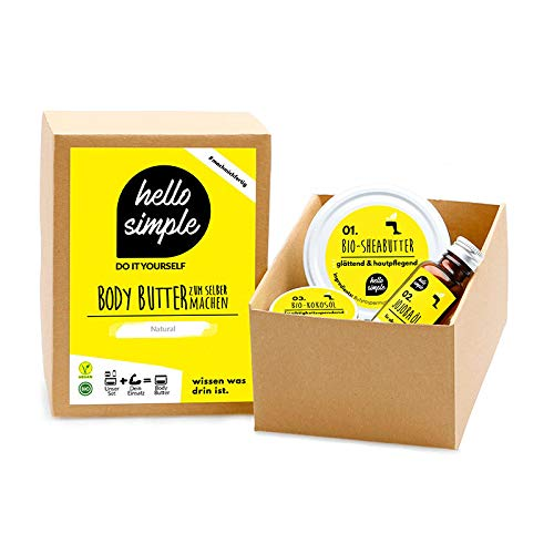 hello simple - DIY Body Butter zum Selbermachen (180 g), Naturkosmetik ohne Aluminium, vegan, bio, plastikfrei (Pfefferminz-Lavendel mit Jojobaöl)