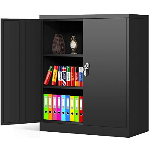 Black Metal Storage Cabinet Locking Steel SnapIt Storage Cabinet with 2 Doors and 2 Adjustable Shelves, Counter Height Lockable Metal Welded Cabinet for Office,Garage, Home Greenvelly