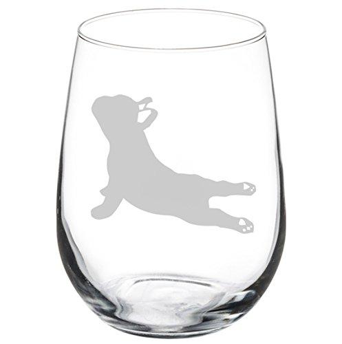 Wine Glass Goblet French Bulldog Frenchie Yoga (17 oz Stemless)