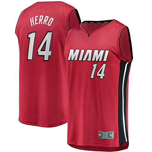 WTPB Tyler - Camiseta de baloncesto Herro Miami Red Heat Association Edition Away Jersey n.º 14 Retro Gym transpirable de secado rápido para niños