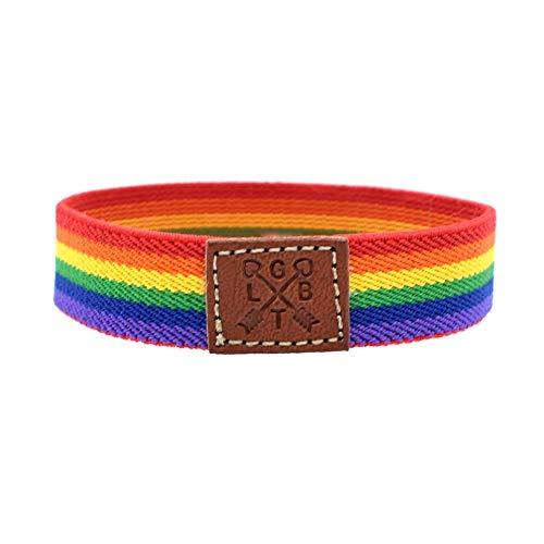 BDM Pulsera del Orgullo Gay, LGTBI, Bisexual, Lesbianas y transexuales. De Tela elástica y Muy cómoda para Regalar, Brazalete de la Amistad.
