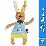 Sigikid Schnuller-Schnuffeltuch Hase mit Namen Bestickt, Baby & Kinder Schmusetuch personalisiert, Kuscheltuch Geschenkidee Junge, Blau, 38848