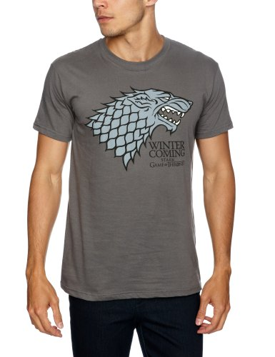 Trademark Game Of Thrones Logo Stark Direwolf - Camiseta, con manga corta para hombre, Gris (Charcoal), XX-Large