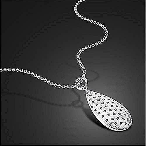 ZGYFJCH Co.,ltd Halskette Mode Frauen Männer 925 Silber Frauen Stil Brunnen Anhänger Einfaches Design Runde Anhänger Massiv Silber 51Cm Geschenk