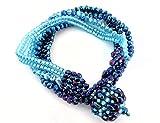 Blaues Armband GlasPerlenarmband Mehrstrangarmband blau hellblau Handarbeit Unikat