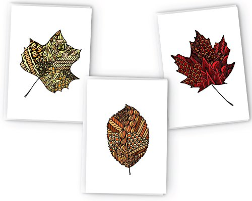 Autumn Leaves Zentangle Fall Greeting Cards - 24 Cards & Envelopes
