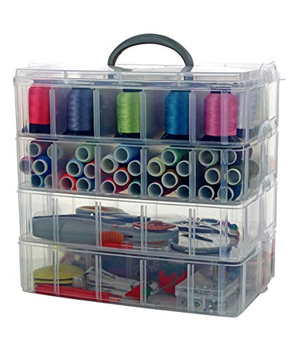 Bins & Things Storage Container with 30 Adjustable Compartments for Storing & Organizing Sewing Embroidery Accessories Threads Bobbins Beads Beauty Supplies Nail Polish Jewelry Arts & Crafts - Large