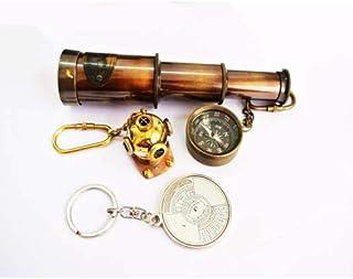 Tora Antique Full Brass 3 inch Look Full Brass Telescope with Lens Cover + Helmet Key Ring + Compass Key Ring + Calendar K...