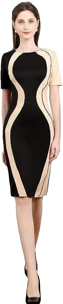 Naier Daily Women Sundy Church Wiggle Knee Length Business Dress Black Beige S