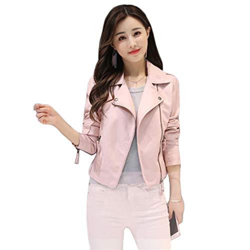 De las mujeres de Down Chaquetas de la chaqueta de las mujeres de color rosa más el tamaño de la PU abrigo de moda coreano corto slim moto ropa de cuero feminina