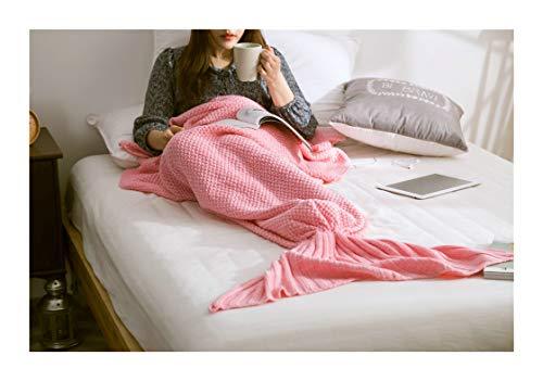 Manta de Cola de Sirena Tejida para Coche, para bebés, niños y Adultos, función de Viaje en casa, S M L 1 Pieza, Rojo Rosado, L 80 * 180cm