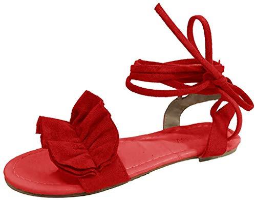 Minetom Sandalen Damen Sommer Sandaletten Flachen Frauen Knöchelriemchen Espadrille Plateau Flip Flop Sommersandalen Bequeme Elegante Schuhe Schwarz Weiß Rosa Gr.34-44 Rot 40 EU