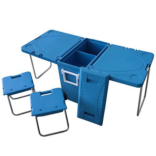 WEIMALL クーラーボックス 2way 折りたたみ テーブル チェア セット キャスター付き キャリーハンドル 大容...