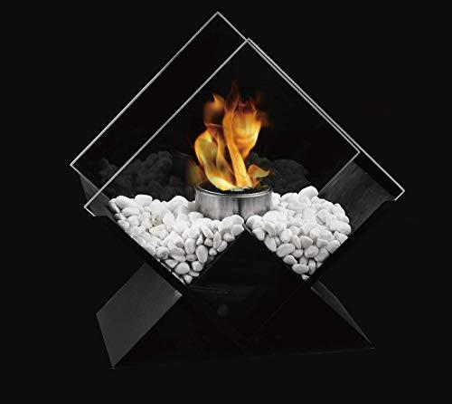 JHY DESIGN Diamant Bioethanol Tisch Feuerschale 38cm Hohe Groß Tabletop Kamin Tragbarer Bio Ethanol Tischkamin Outdoor Kaminfeuer Gartentisch für Indoor Partys Garten Balkon Innen Terrass Tisch außen