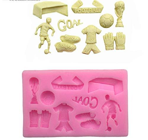 MoGist Moule en silicone rose créatif avec équipement de football pour modélisation DIY biscuits, pudding, chocolat, fondant, gâteau