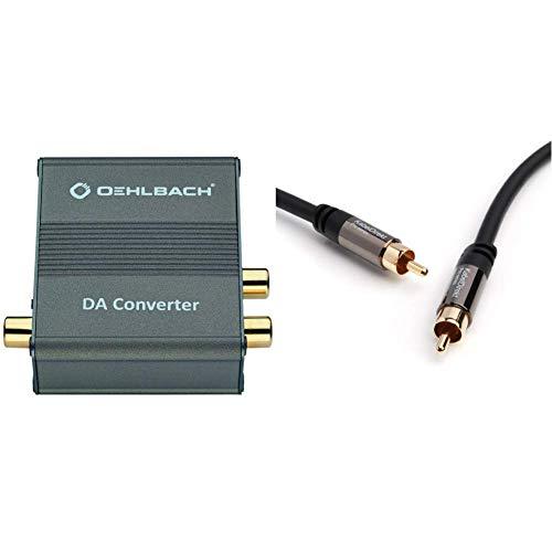 Oehlbach DA Converter - Digital/Analog Audiowandler - Koaxial/Optisch, R-L/Klinke - Cirrus Logic Chip, Metallic Braun & KabelDirekt - Optisches Kabel/Toslink Kabel - 1m - PRO Series