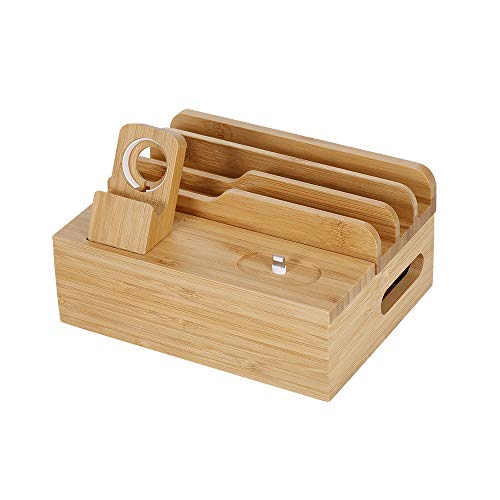 Entweg Charging Stand, 3-in-1 Bamboo Desktop Storage Bracket Mobile Phone Tablet Charging Station for Phone Ipad Watch Airpods Us Plug