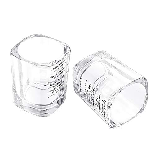 2Pcs Shot Glasses Measuring Cup 60ML Liquid Heavy Base Espresso Glass Cup 2 Ounce Square Clear Wine Glass Espresso Shot Glass Heat Resistant Scale Marking Cup for Coffee Milk Water Whiskey Liqueurs