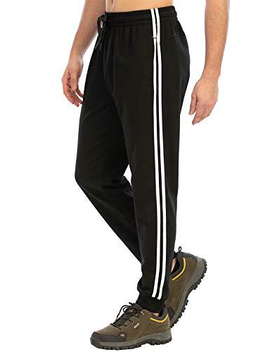 DAFENP Pantaloni Tuta Uomo Sportivi Jogging Pantaloni Running Fitness Cotone Slim Fit Allenamento Casual Pantaloni Palestra KZ6039M-BlackWhite-2G-M