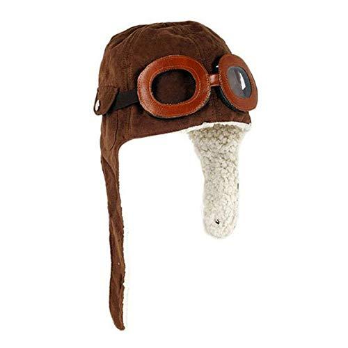 Ousyaah Baby Kinder Wintermütze mit Ohrenklappen Junge Mädchen Fliegermütze Kunstfellmütze Woll Hut Beanie Winter Warm Mütze (Brown)