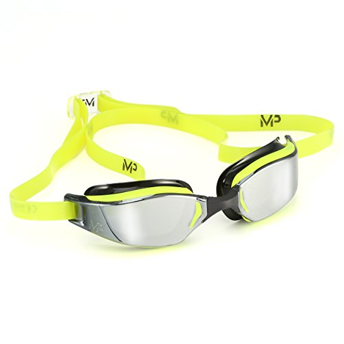 MP Michael Phelps XCEED Swimming Goggles, Mirrored Lens, Yellow/Black Frame