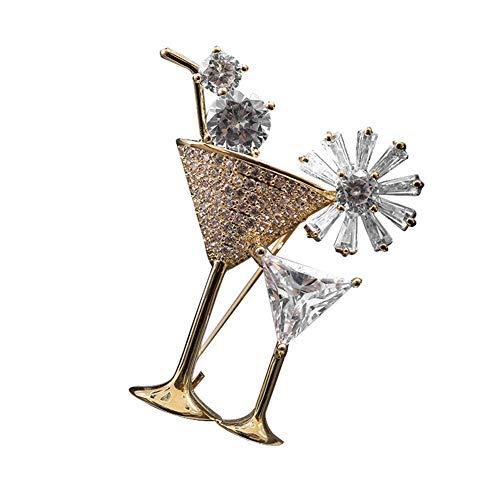Cosanter Damen-Brosche Exquisite Cocktailglas-Form Brosche Pins Legierung Strass Schmuck Zubehör 34x29 MM (Gold)