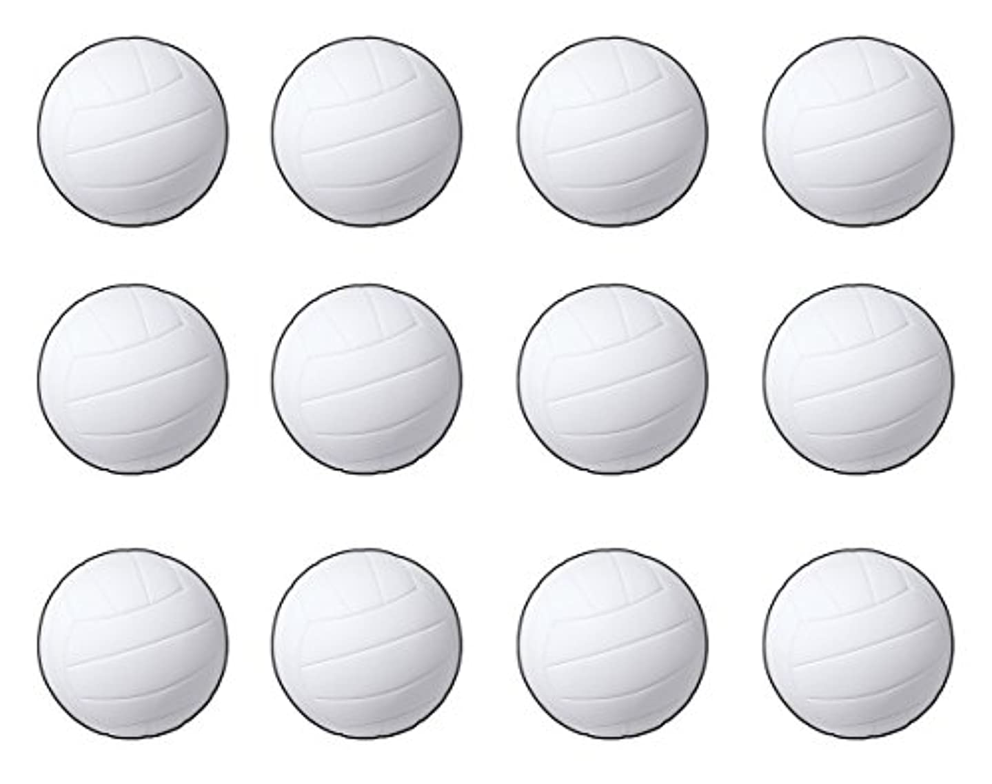 Beistle S55087AZ12, 12 Piece Volleyball Cutouts, 13.5'' (White/Black)