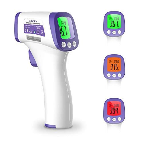 Vibeey Thermomètre Frontal, Thermomètre Infrarouge Numérique Sans Contact pour Bébé et Adulte, Lecture Instantanée avec écran LCD Numérique - Piles Non Incluses
