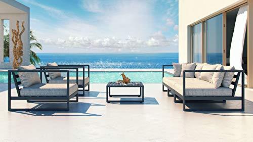 ARTELIA Matteo M Loungemöbel Set - Gartenmöbel Set für Terrasse, Garten und Wintergarten, Gartenlounge, Terrassenmöbel schwarz