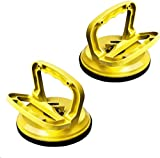 FCHO Glass Suction Cup Heavy Duty Aluminum Vacuum Plate Puller Handle Holder Hooks Duty Galss Lifting/Tile Suction Cup Lifter/Moving Glass/Pad for Lifting (Yellow, 2Pack)