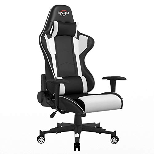 Polar Aurora Gaming Chair Racing Style High-Back PU Leather Office Chair Computer Desk Chair Executive Ergonomic Swivel Chair Headrest Lumbar Support