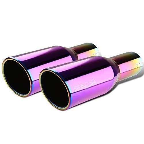 Spec-D Tuning 2.5' Inlet 3.875' Purple Slant Titanium Burnt S/S Steel Exhaust Muffler Tip