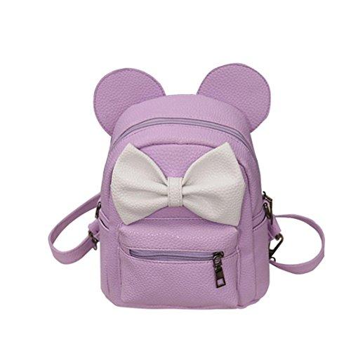 HUIHUI Rucksack Damen, Mini Mickey Backpack Kinder-Rucksack Wasserdicht Reiserucksack Outdoor Wanderrucksacke Jugendliche mädchen Dakine Rucksack (Helles Lila, Freie Größe)