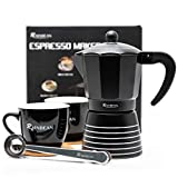 Stovetop Espresso Maker 6 CUP RAINBEAN, Moka Pot 2021 Prime Gift Box, Italian Cuban Greca Coffee Maker Easy To Use & Clean, Black Espresso Percolator Aluminum Durable, Two 8oz Ceramic Coffee Cup & Stainless Spoon & Placemat