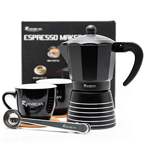 Stovetop Espresso Maker 6 CUP RAINBEAN, Moka Pot 2021 Prime Gift Box, Italian Cuban Greca Coffee Maker Easy To Use & Clean, Black Espresso Percolator Aluminum Durable, Two 8oz Ceramic Coffee Cup & Stainless Spoon & Placemat