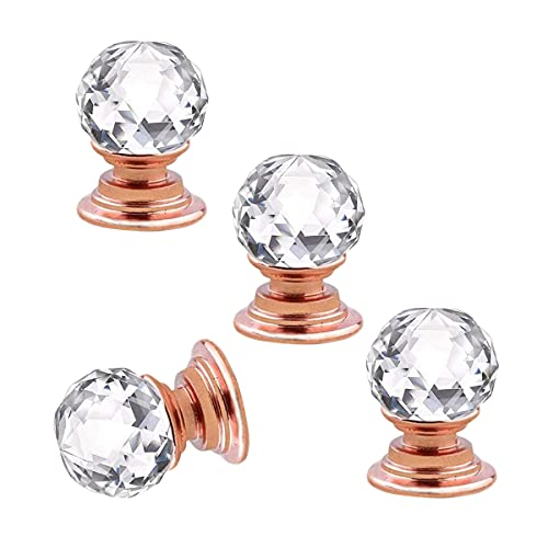 Manopole per Cassetti in Cristallo Oro Rosa, 4 Pezzi Maniglia Rotonda per Cassettiera per Mobili, 16 mm