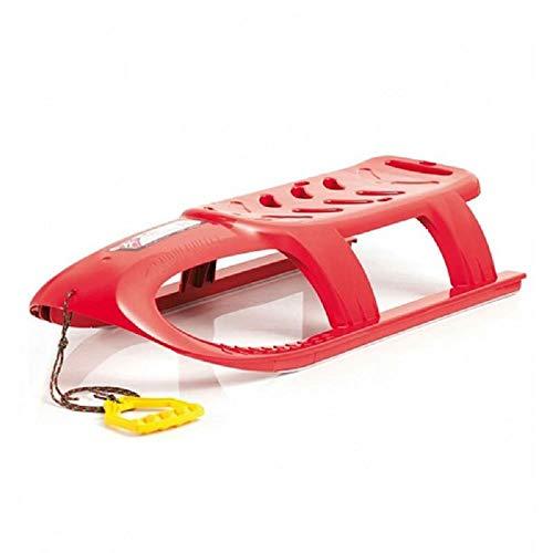 Prosperplast Kinderschlitten Schlitten mit Metallschienen und Seil (Rot)