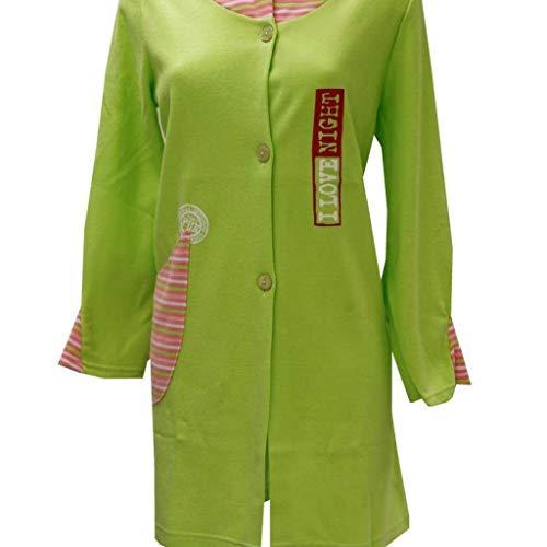 Tessilbianco Vestaglia Invernale da Donna in Micropile - Verde Acido, 50