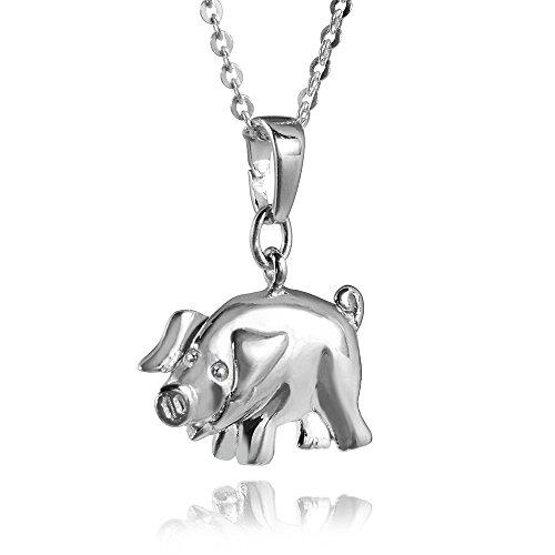 MATERIA Halskette mit Schwein Kettenanhänger Silber 925 rhodiniert - Kinder Glücksbringer + Box #KA-197_K30-45