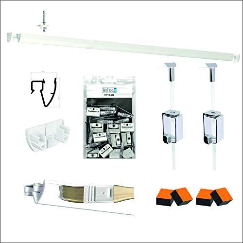 Pack de riel Artiteq – Fijación de techo – Colgar de cuadro de alta gama (4 metros, blanco)