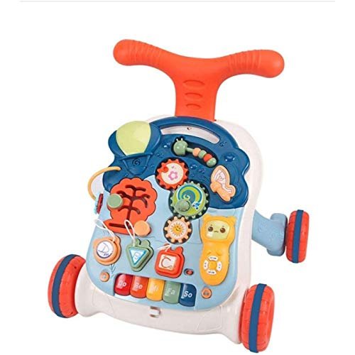 SONG Andador para Bebés de Educación Temprana con Escritorio de Aprendizaje Divertido, Caminante de Aprendizaje Sentado y de Pie con Rompecabezas Estable y de Bajo Ruido, de 6 a 18 Meses,Orange