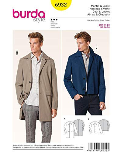 Burda Mens Sewing Pattern 6932 Classic Coats & Jackets