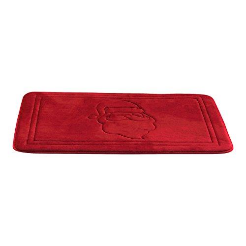 Luxury Holiday Christmas Santa Red Memory Foam Anti Fatigue Kitchen Bathroom Floor Mat Rug