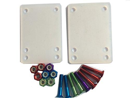 DreamFire Longboard Skateboard Hardware Kit Gummi Skateboard Riser Pad Schrauben Set 10 Stück, transparent clear pad, 1 inch screw