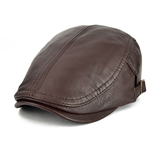 VOBOOM Men Women Adjustable Genuine Leather Ivy Cap Newsboy Hat (Brown)
